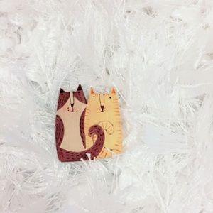 Cat Lady Wood Brooch Pin